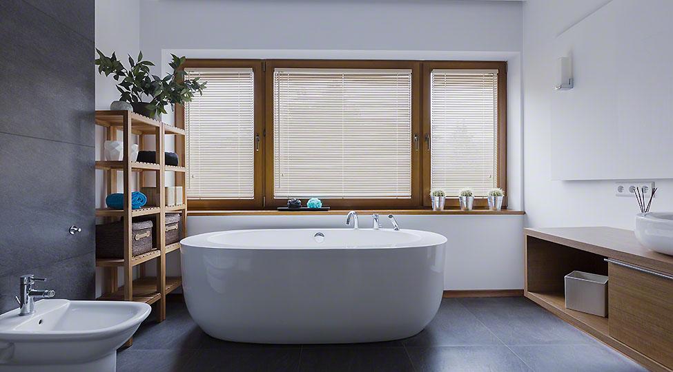 Bathroom with freestanding bathtub