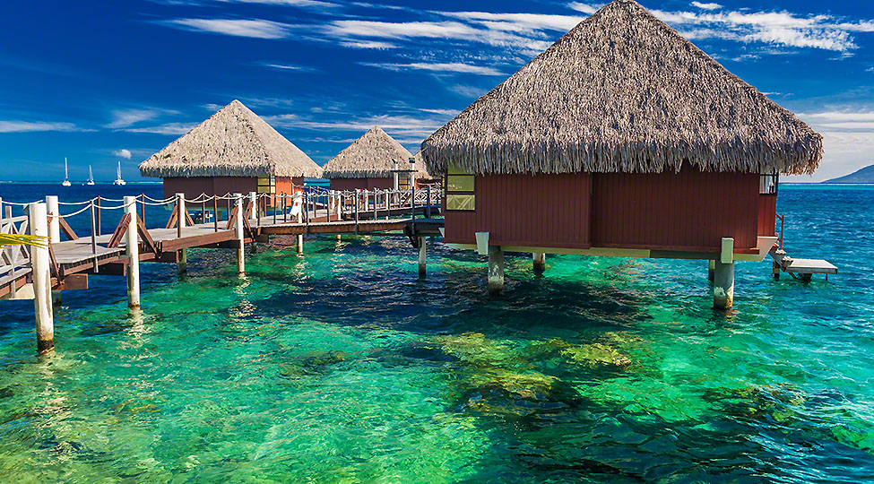 Overwater bungalows with best beach for snorkeling, Tahiti, Poly