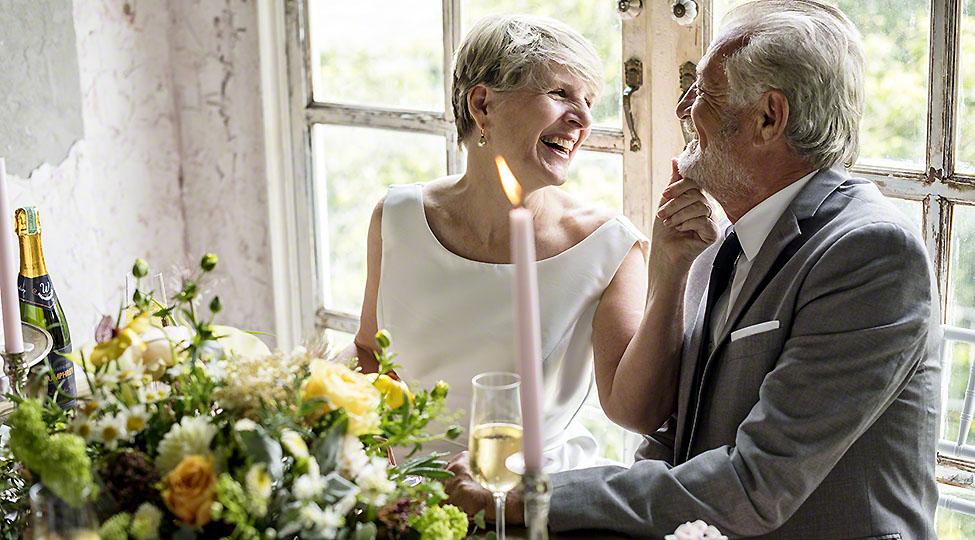 Senior Couple Smiling Cheerful